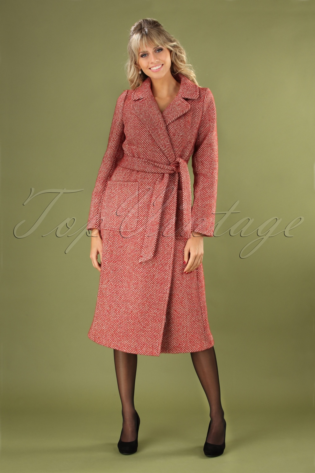 1960s Style Dresses, Clothing, Shoes UK 60s Barclay Long Parquet Coat in True Red £201.25 AT vintagedancer.com