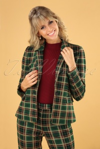 60s Daisy Rodeo Check Blazer in Peacock Green