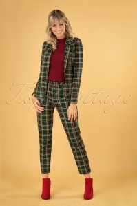 60s Ann Rodeo Check Pants in Peacock Green