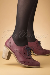 70s Betty Does Country Lace Up Shoe Booties in Burgundy