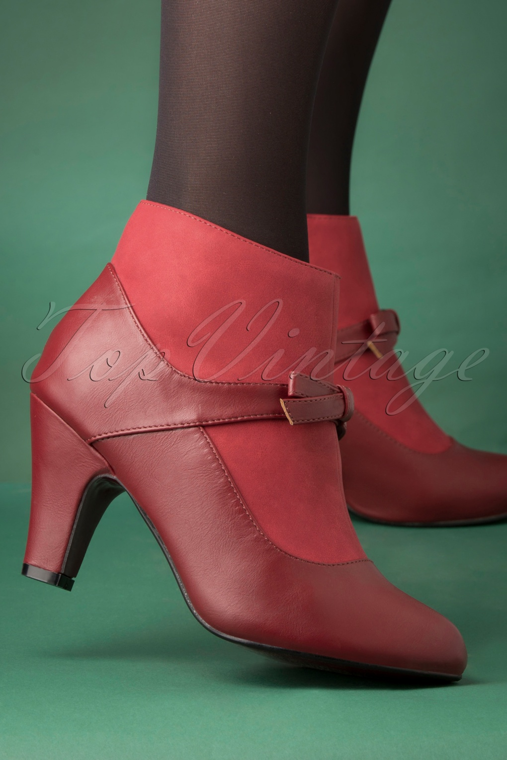 Vintage Style Shoes, Vintage Inspired Shoes 50s Vintage Wings Shoe Booties in Burgundy £63.87 AT vintagedancer.com