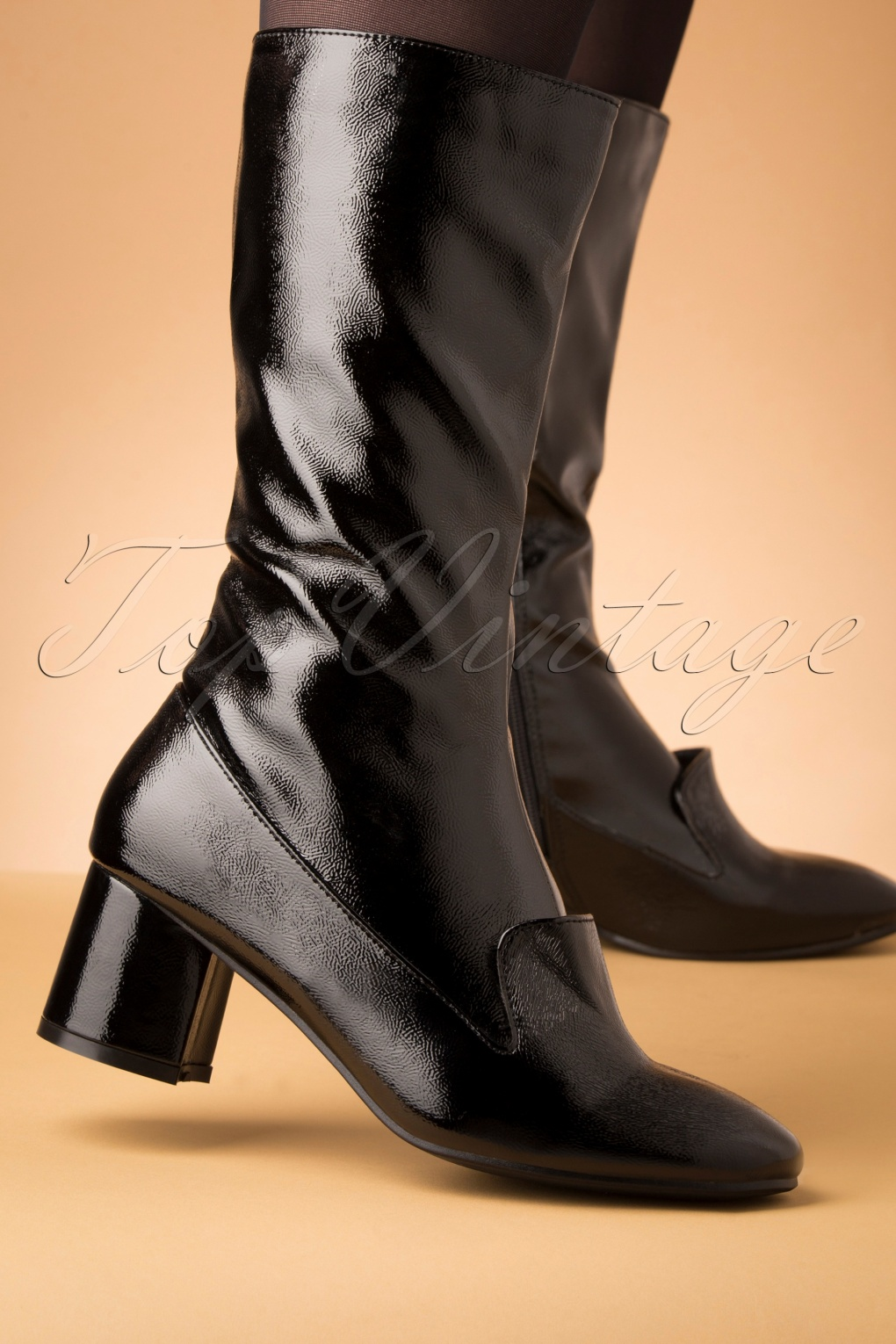 Vintage Style Shoes, Vintage Inspired Shoes 60s The Modernist Patent Boots in Black £71.54 AT vintagedancer.com