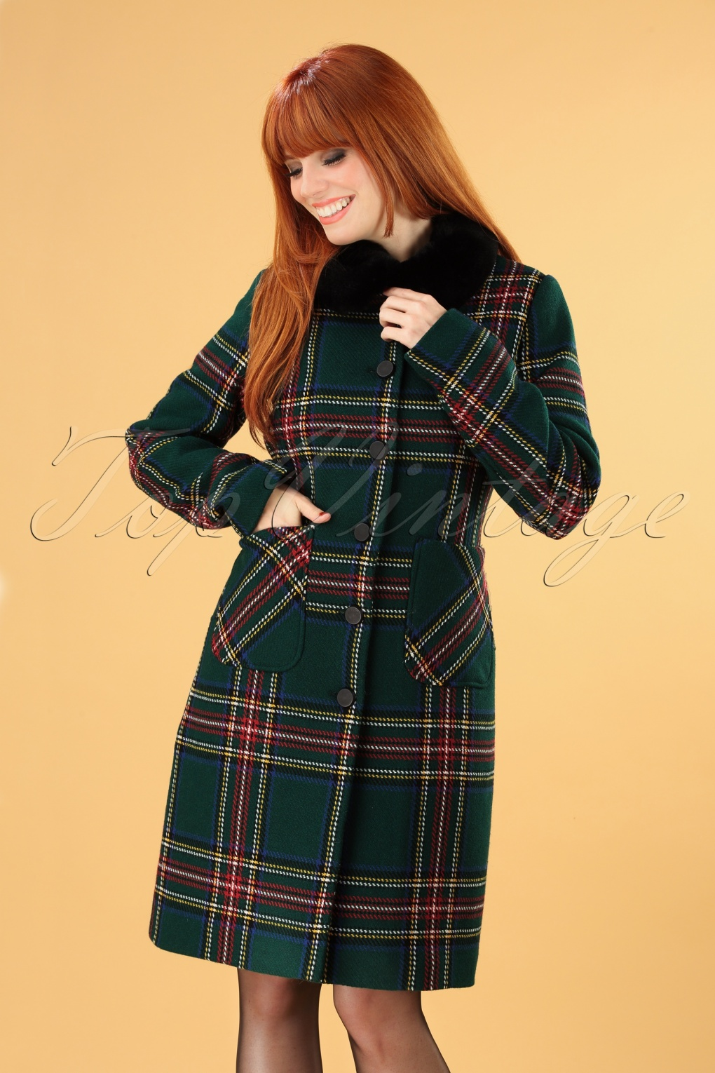 Vintage Coats & Jackets | Retro Coats and Jackets 60s Nathalie Highlands Coat in Green £113.20 AT vintagedancer.com