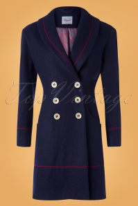 Banned Retro 60s Rocking Coat in Navy and Red