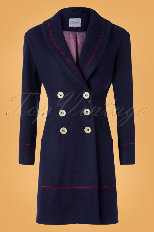 Banned 30546 Rocking Coat in Navy and Red 20190626 003W