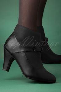 Banned Retro Vintage Wings Shoe Booties Années 50 en Noir