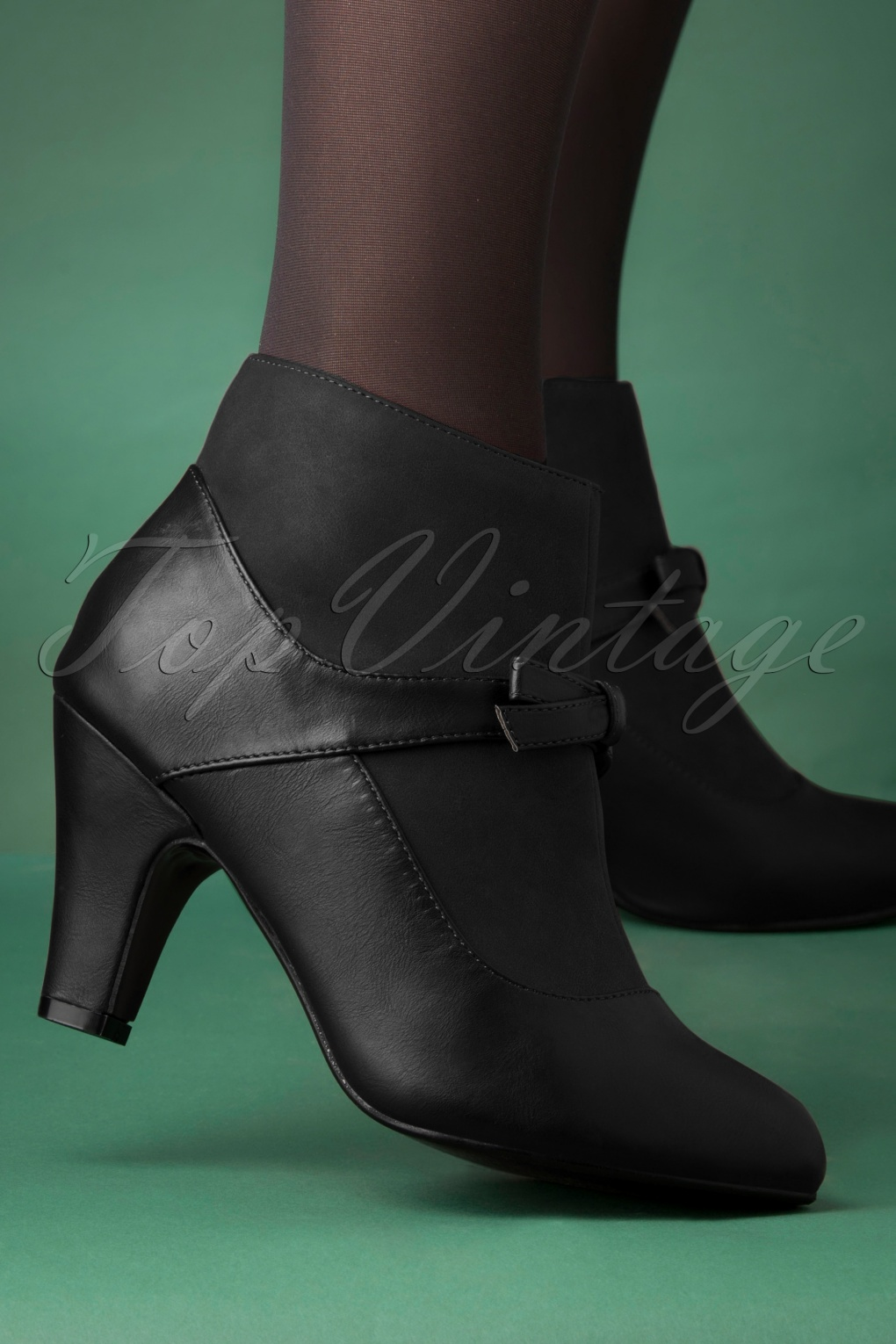 1950s Style Shoes | Heels, Flats, Saddle Shoes 50s Vintage Wings Shoe Booties in Black £66.54 AT vintagedancer.com