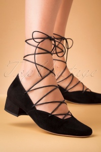 Miss L-Fire 60s Elinor Kid Suede Lace Up Ballerina Pumps in Black