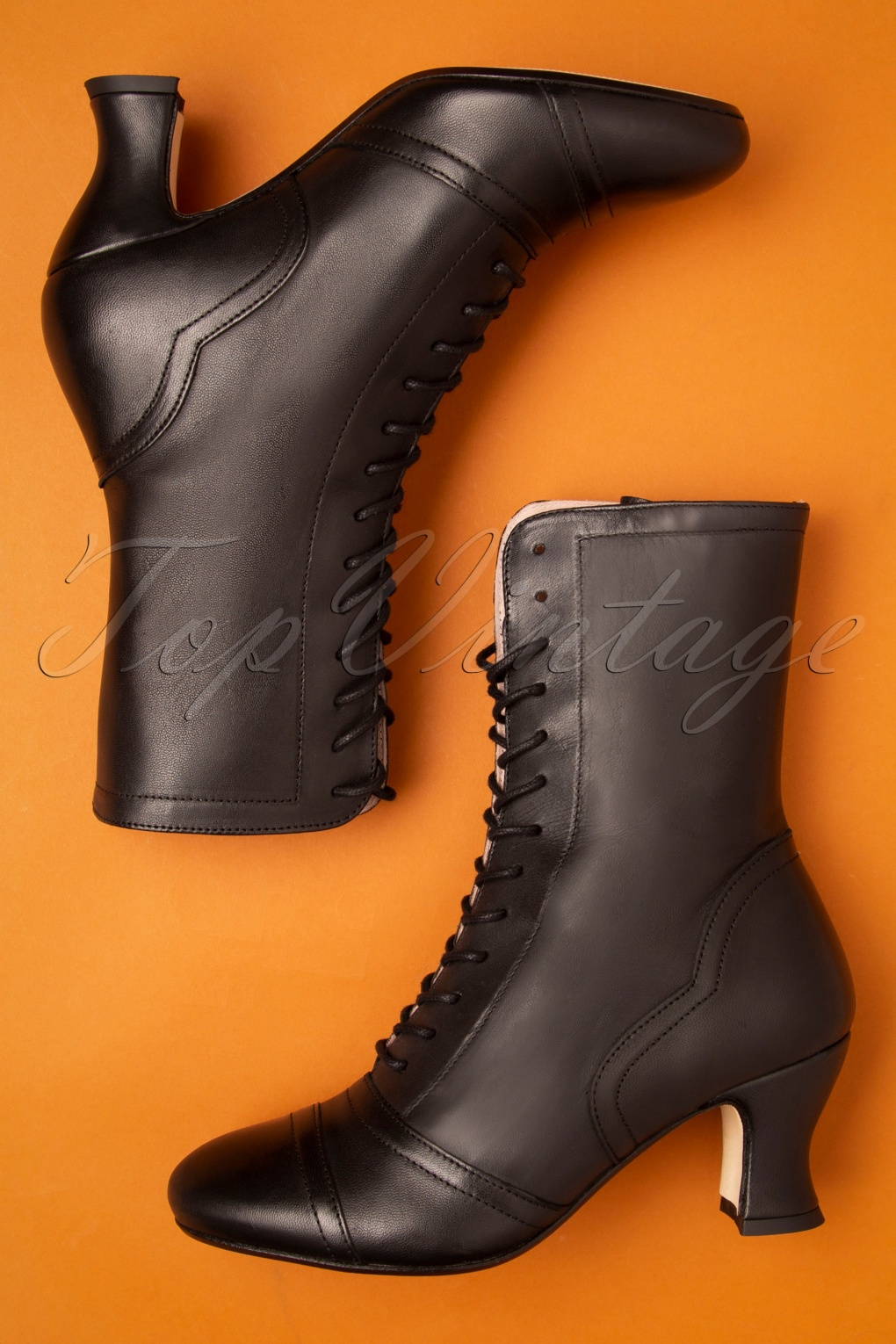 1940s Dresses and Clothing UK | 40s Shoes UK 40s Frida Lace Up Booties in Black £188.12 AT vintagedancer.com