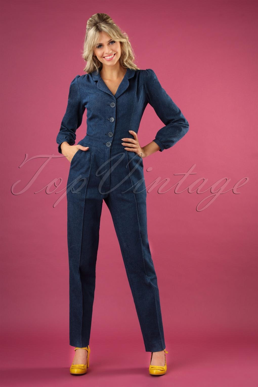 1940s Swing Pants & Sailor Trousers- Wide Leg, High Waist 40s Classic Long Sleeve Jumpsuit in Dark Denim £148.74 AT vintagedancer.com