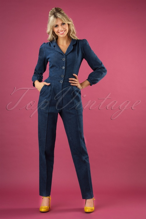 Very Cherry 29987 Classic Jumpsuit Longsleeve Blue Denim 20190605 040MW