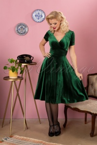50s Hollywood Circle Dress in Emerald Velvet