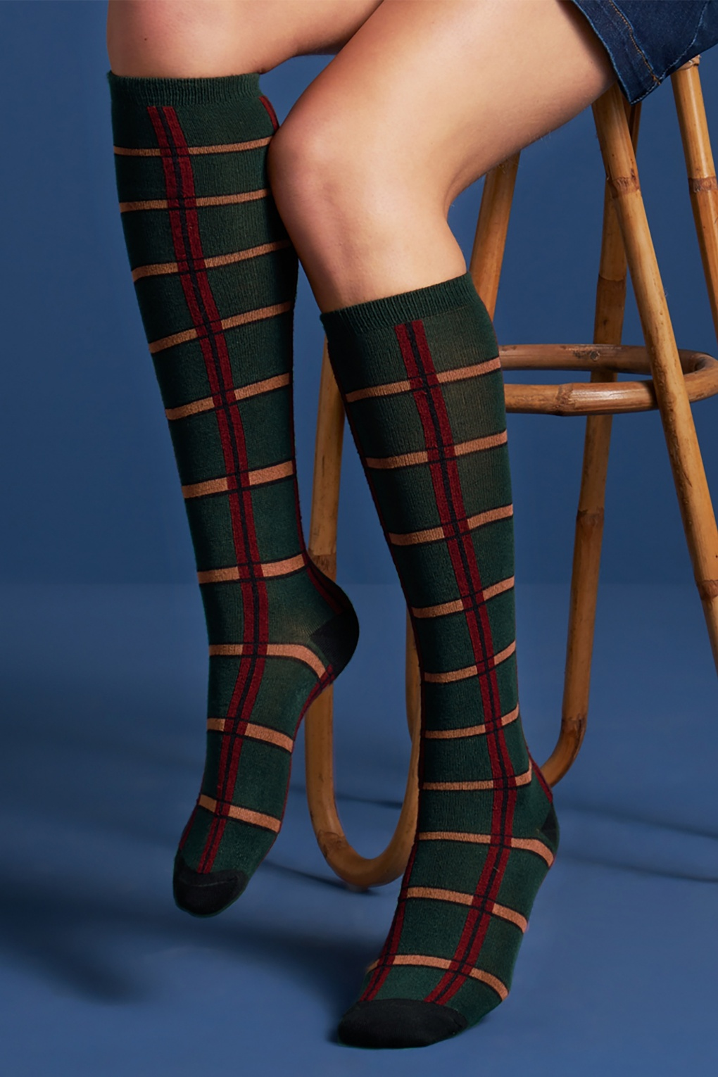 1960s Tights, Stockings, Panty Hose, Knee High Socks 60s Check Knee Socks in Pine Green £17.16 AT vintagedancer.com