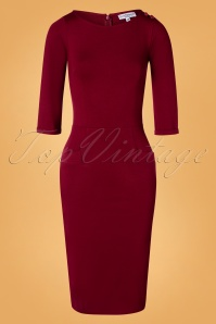 60s Spy Wiggle Dress in Ruby Red