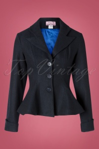 Unique Vintage 50s Micheline Pitt X Unique Vintage Rachael Suit Jacket in Navy Tweed