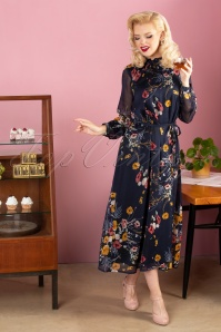 Md'M 70s Meredith Floral Maxi Dress in Navy