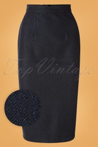 Unique Vintage 50s Micheline Pitt X Unique Vintage Rachael Wiggle Skirt in Navy Tweed
