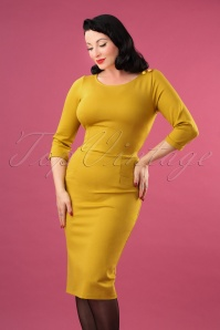 60s Spy Wiggle Dress in Mustard