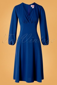 Unique Vintage 50s Micheline Pitt X Unique Vintage Pris Swing Dress in Royal Blue