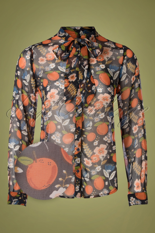 Maxine Orange Floral Blouse Années 70 en Multi