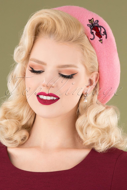 1950s Hats: Pillbox, Fascinator, Wedding, Sun Hats 50s Amora Beret in Dolly Pink £27.96 AT vintagedancer.com