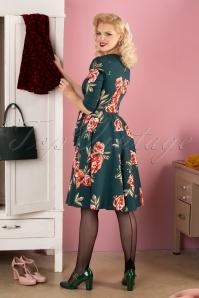 Sheen 30962 Madison Floral Swing Dress Green 041MW