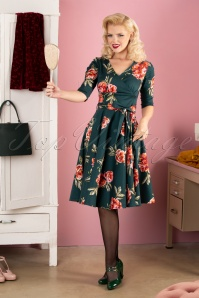 Sheen 50s Madison Floral Swing Dress in Dark Green