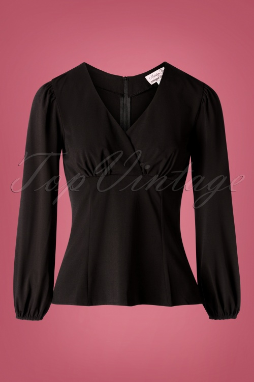 Unique Vintage 31208 Blouse Black Micheline 09162019 001W