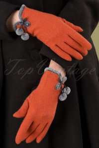 40s Betty Pom Pom Wool Gloves in Tangerine