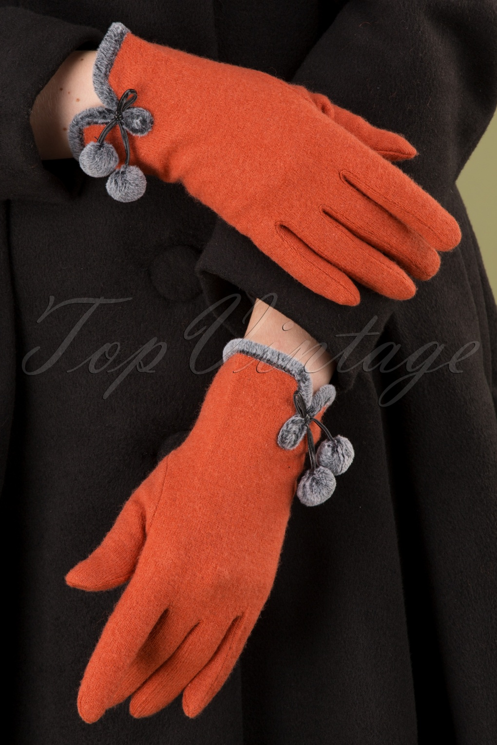 Vintage Style Gloves- Long, Wrist, Evening, Day, Leather, Lace 40s Betty Pom Pom Wool Gloves in Tangerine £23.59 AT vintagedancer.com