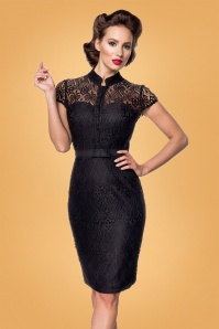 Belsira 50s Rayne Lace Pencil Dress in Black