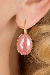 Goldplated Oval Earrings Années 60 en Rose Dragée