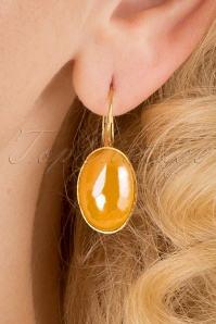 60s Goldplated Oval Earrings in Marigold Yellow