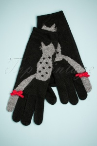 Alice Hannah Love Cats Jaquard Gloves in Black 250 14 26800 11082018 002 W