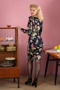 Vintage Chic 31811 Navy Floral Pencil Dress 20190913 029W