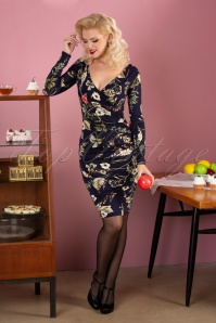 50s Georgie Floral Pencil Dress in Navy