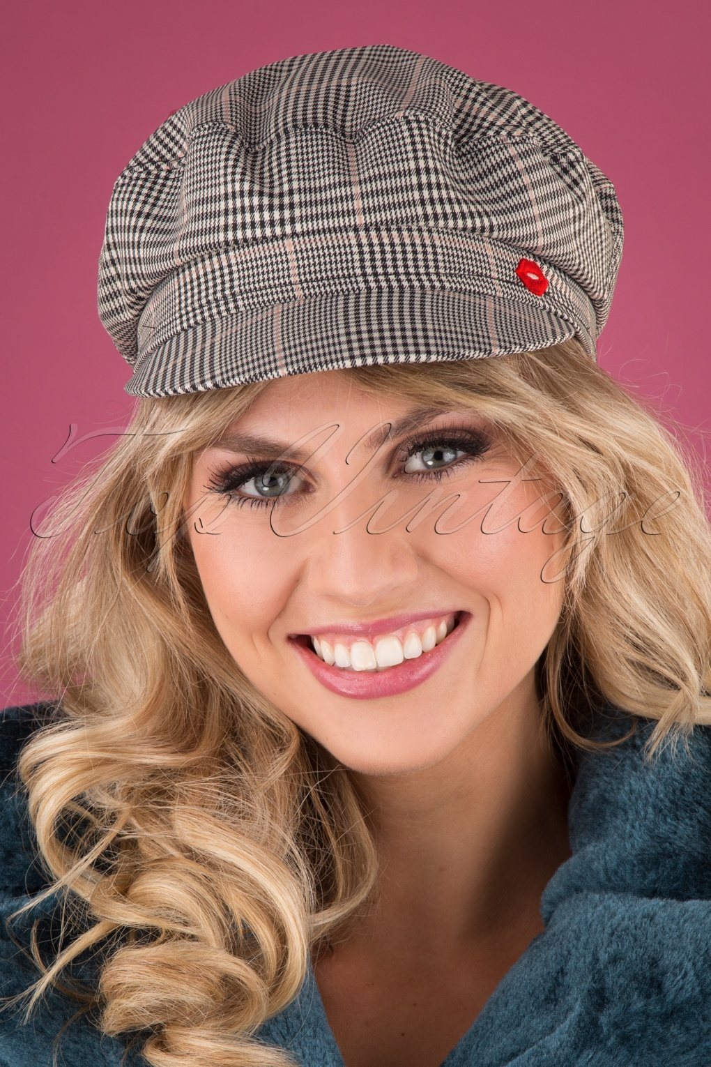 Women's Vintage Hats | Old Fashioned Hats | Retro Hats 70s Think A Hat Cap in Glencheck Grey £10.16 AT vintagedancer.com