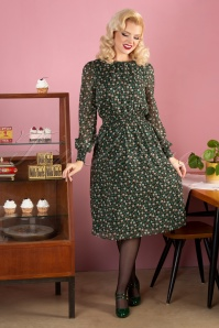 70s Danie Floral Midi Dress in Green
