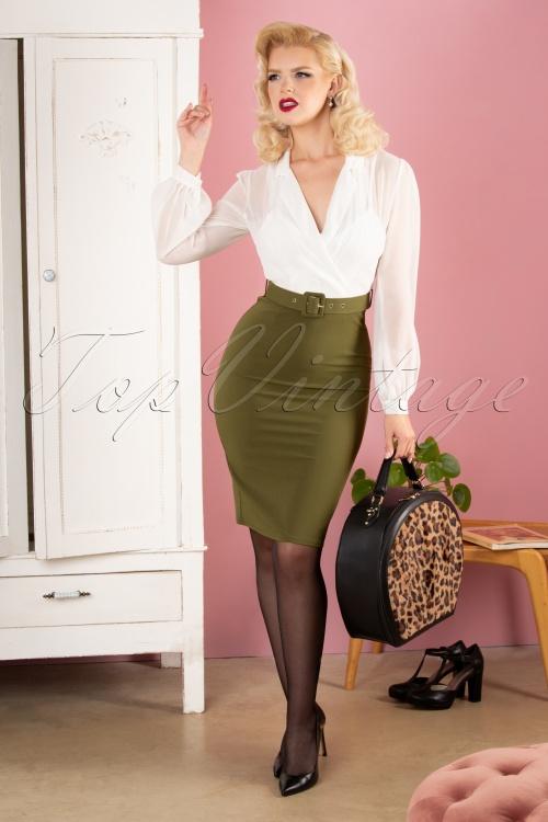 Paper Dolls 30827 Anjo Pencil Dress Olive White 040MW