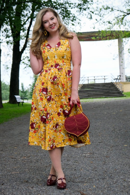 Lady V 30856 Belle Ditsy Swing Dress in Mustard 20190913 020L