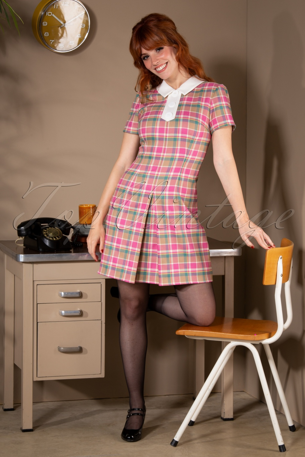 1960s Style Dresses, Clothing, Shoes UK 60s Harper Check A-Line Dress in Pink £104.98 AT vintagedancer.com