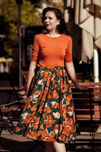 60s Dreamy Days Skirt in Green