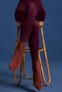 60s Solid Tights in Porto Red