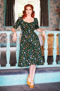50s Dolores H/S Mushroom Doll Dress in Green
