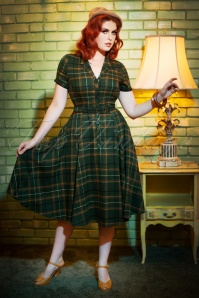 50s Caterina Fife Check Swing Dress in Green