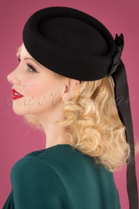 50s Olivia Ribbon Hat in Black