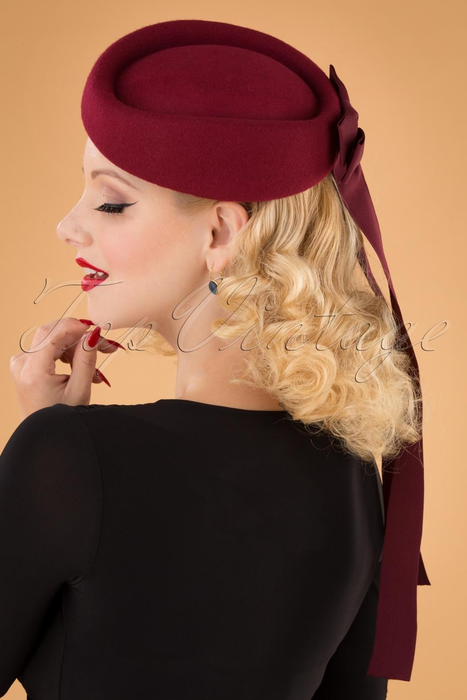 Women's Vintage Hats | Old Fashioned Hats | Retro Hats 50s Olivia Ribbon Hat in Burgundy £35.42 AT vintagedancer.com