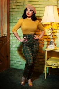 50s Bonnie Fife Check Trousers in Green