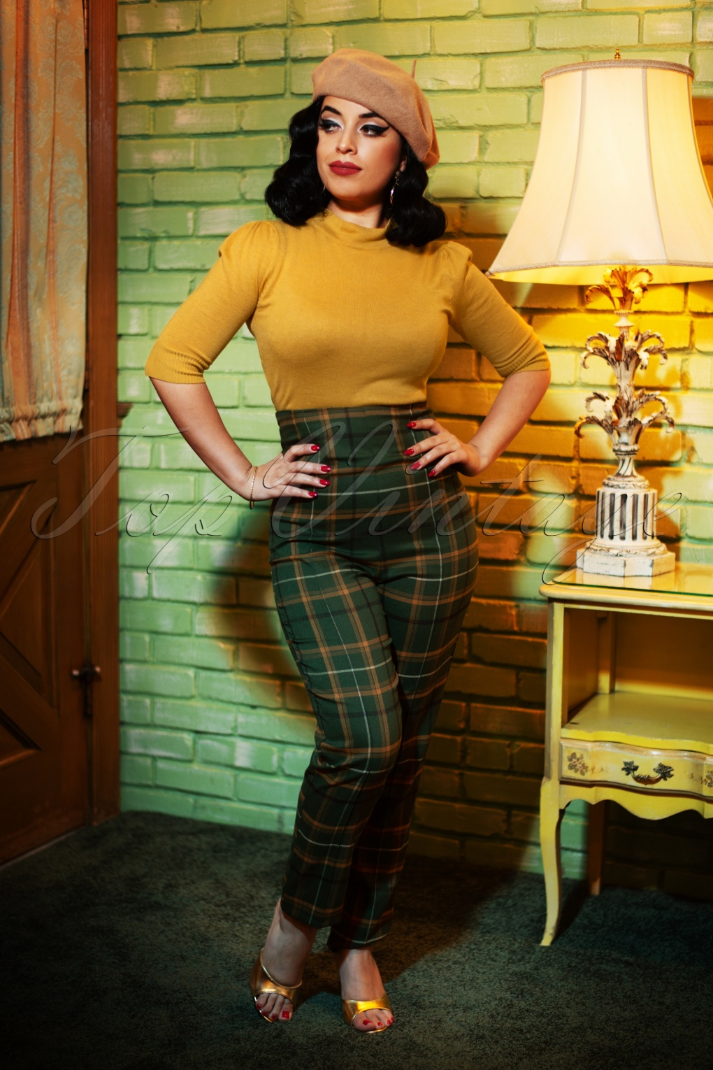 1950s Pants & Jeans- High Waist, Wide Leg, Capri, Pedal Pushers 50s Bonnie Fife Check Trousers in Green £41.96 AT vintagedancer.com