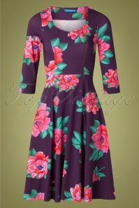 Lien & Giel 60s Annecy Roses Swing Dress in Purple